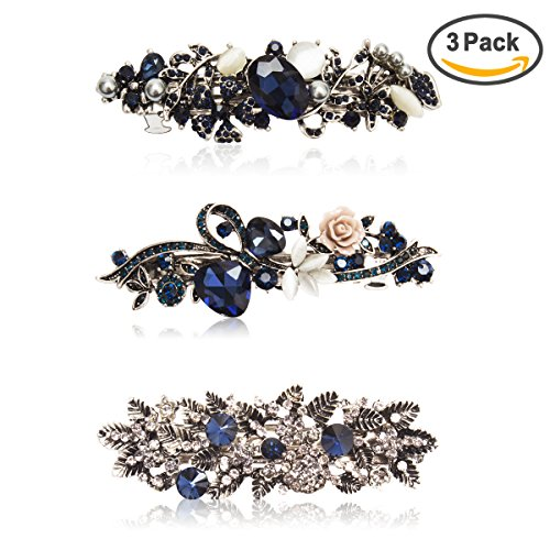 Kicosy Barrettes for Women 3 Pack Vintage Shining Rhinestone Hair Barrettes Metal Flower Butterfly French Clip Faux Crystal Hair clip Spring Hair Barrette,Black and Navy Blue (Navy Blue Crystal)