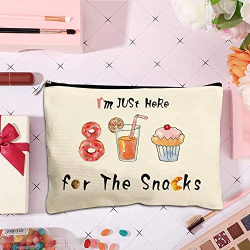 First Spring Snacks Bag For Travel, Funny Makeup Canvas Toiletry Travel Kit Cosmetic Travel Bag 7.8x 9.8 Inch