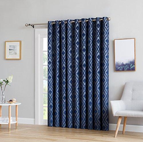 HLC.ME Trellis Flocked 100% Blackout Thermal Window Curtain