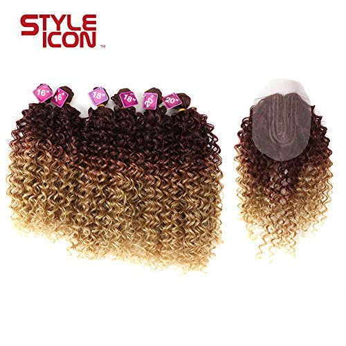 Style Icon Synthetic Kinky Curly Blonde Hair 16-20 inch 7Pieces/lot Afro Kinky Curly Hair 6 Pieces With Closure Lace For Black Women (161618182020+16, TT33/T12/22A)
