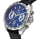 Pagani Design Racing Chronograph Mens Sports Watches Black Dial Tachymetre Black Leather Silver Watch