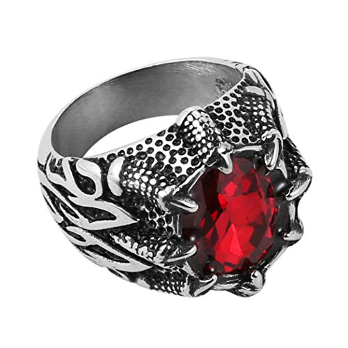 HZMAN Men's Vintage Gothic Biker Dragon Claw Ruby Sapphire Emerald Skull Stainless Steel Ring (Red, 8)
