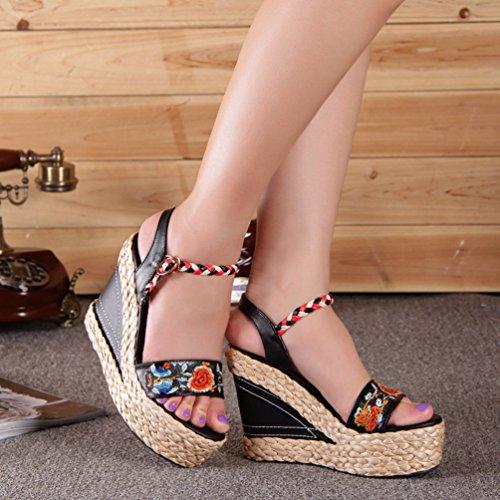 Élégante Noir Forme Compensées Exquise Chaussures Respirant La Plate Chaussures Yuncai Femme Sandales À Mode 5YOZRR