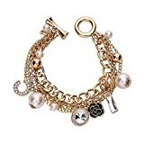 Fashion Jewelry MISASHA Logo Gold Tone Chain Inspired Charm Bracelet for Women (Camellia)