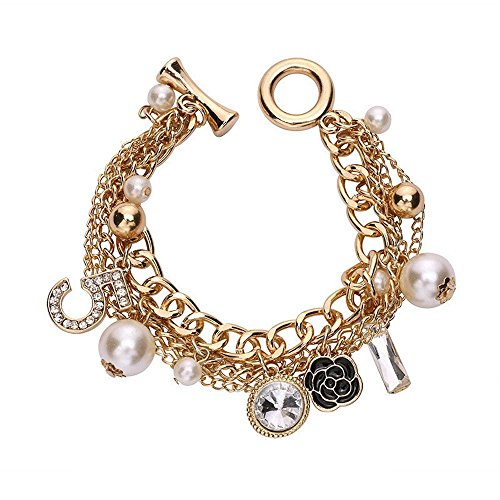 - Fashion Jewelry MISASHA Logo Gold Tone Chain Inspired Charm Bracelet for Women (Camellia)