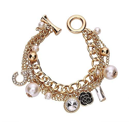 Fashion Jewelry MISASHA Logo Gold Tone Chain Inspired Charm Bracelet for Women (Camellia) - Brooch Pin Earrings