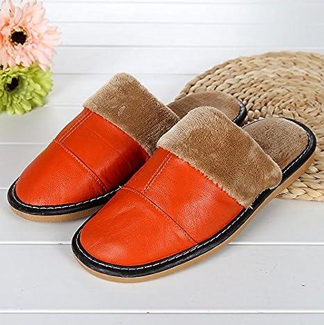 mhgao Ladies Casual zapatillas en otoño y invierno la cálido interior de piel sintética acolchada zapatillas, 1, 40