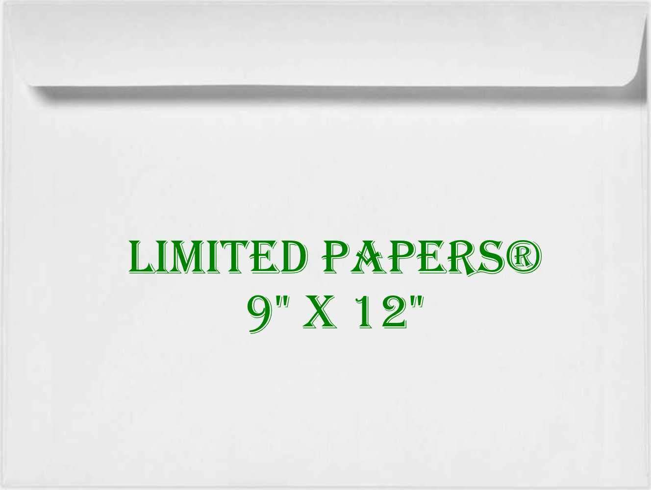 1000 Jumbo TM Limited Papers 28# White - Open Side 9 x 12 9 x 12 Booklet Envelope - Large Envelope Series