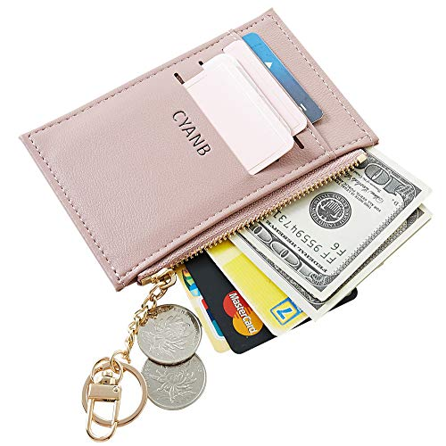 (Cyanb Slim Minimalist Soft leather Card Holder Front Pocket Wallets for Women Girls with Key chain PU Pink)