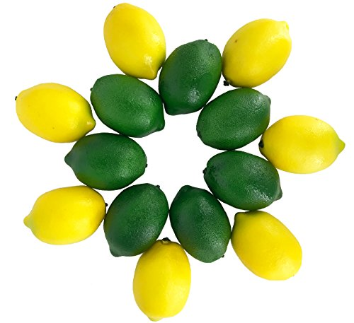 LIFELIKE Fake Lemons and Limes set – 14pcs– Real Looking Fake Fruits for Decoration – Plastic Lemons and Fake Limes for Lifelike Simulations, Kitchen Table Decor, Home Staging, Fake Fruit Bowl by Dasksha