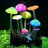 Pawfly Glowing Effect Artificial Mushroom Aquarium Plant Decor Ornament Decoration for Fish Tank Landscape