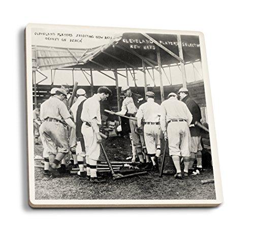 Lantern Press Cleveland Indians Choose Bats, Baseball - Vintage Photograph (Set of 4 Ceramic Coasters - Cork-Backed, Absorbent)