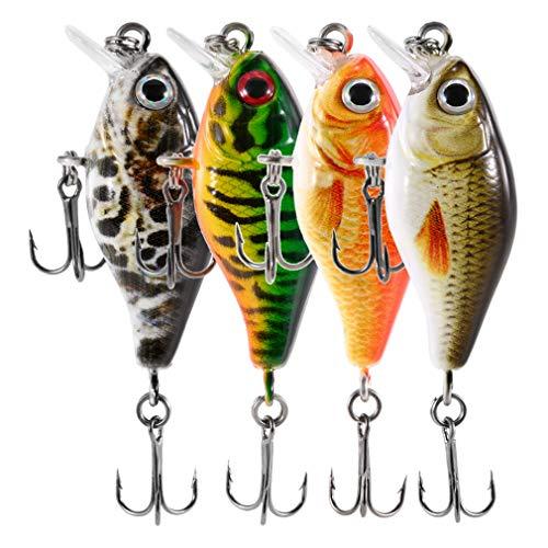 Nafanio 8pc Mini Crankbait 2 Inch 8.3g Floating 3D Eyes Fishing Lure