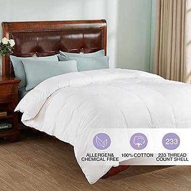 All Season White Down Comforter/Duvet Insert, 100% Cotton 600 Fill Power, White, King Size