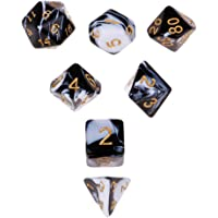MagiDeal 7X Double-Color Polyhedral Dice D4-D20 for Dungeons and Dragons Black White