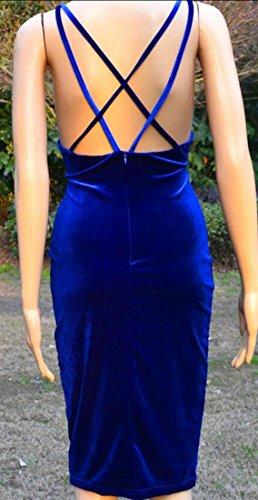 Jaycargogo Velours Femmes Décolleté En V Mini-écharpe Robe Moulante Dos Nu 1