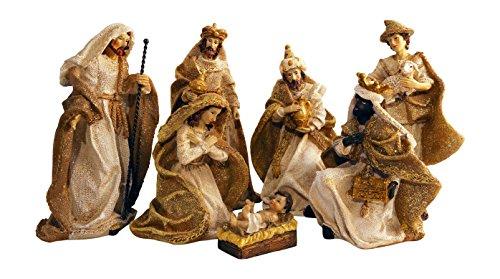 (Gold Metallic Glittered Burlap Christmas Nativity Scene, Set of 7 Rearrangeable)