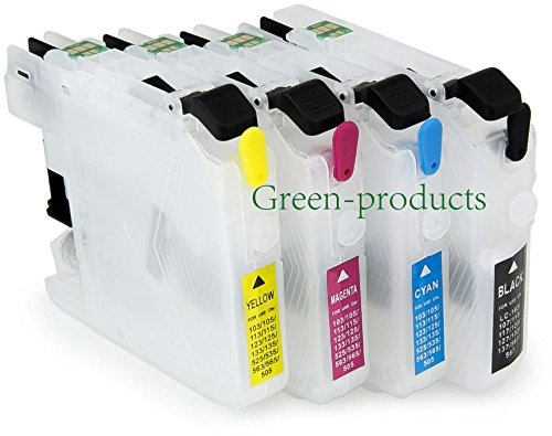 Inkjet Auto Refill (green-products empty LC101 LC103 LC105 LC107 Refillable Ink Cartridges with Auto Reset Chips for Brother MFC-J285DW, MFC-J4310DW, MFC-J4410DW, MFC-J4510DW, MFC-J4610DW, MFC-J470DW,)
