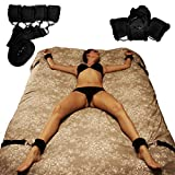 Bed Restraint System for Sex Adjustable Mattress, Restraint With Cuffs For Ankles and Wrists - Fits Almost Any Size Mattress - Black