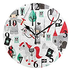 lightly Personalized Non Ticking Silent Clock Art Living Room Kitchen Bedroom for Home Decor Castle Horse Child Round Acrylic Wall Clock