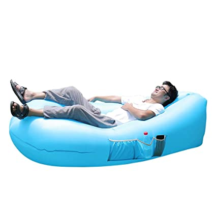 Remarkable Portable Inflatable Lounger Chair Air Sofa Bed Sleeping Bag Camping Tent Cot Indoor Outdoor Beach Park Backyard Pool Bralicious Painted Fabric Chair Ideas Braliciousco
