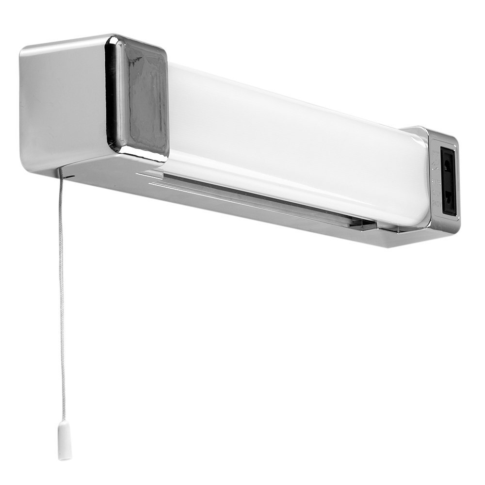 modern silver chrome effect 5w led bathroom wall light with shaver socket ebay