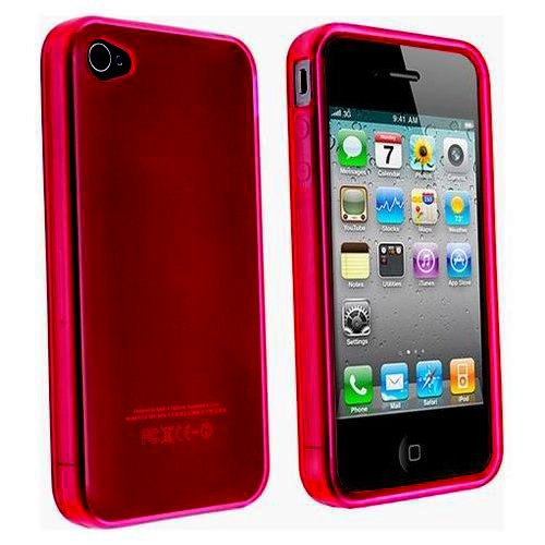 Price comparison product image Red TPU Flexible Case For Apple Iphone 4 4G AT&T