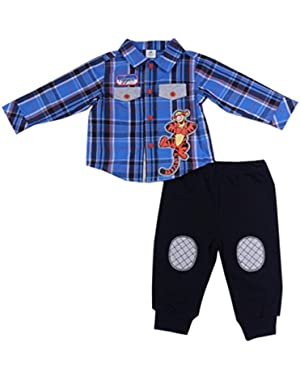 Baby TIGGER Long Sleeve Button-Down Plaid Shirt & Pants Set