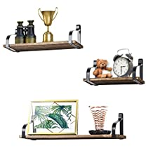 Floating Shelves Wall Mounted Set of 3 by Love-KANKEI, Rustic Wood Wall Storage Shelves for Bedroom, Living Room, Bathroom, Kitchen, Office and More…