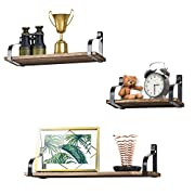Floating Shelves Wall Mounted Set of 3 by Love-KANKEI, Rustic Wood Wall Storage Shelves for Bedroom, Living Room, Bathroom, Kitchen, Office and More