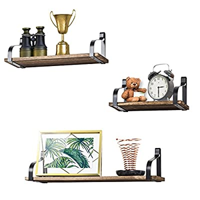 Love-KANKEI Floating Shelves Wall Mounted Set of 3, Rustic Wood Wall Storage Shelves for Bedroom, Living Room, Bathroom, Kitchen, Office and More Carbonized Black - SIMPLE DISPLAY SHELVES - Simple design floating shelves constructed of solid Paulownia wood boards and powder coated metal brackets, perfect for displaying and holding collectibles, small plants, stuffed animals and more 。 FUNCTIONAL STORAGE SHELVES - Useful for adding additional shelving space to store and organize small items or clutter in bedroom, bathroom, kitchen and more, great for clearing up the counter RUSTIC WALL SHELVES - Features rustic style with torched finish wood and industrial metal brackets, decorative and great addition or accent to any wall space - wall-shelves, living-room-furniture, living-room - 519ma0INoNL. SS400  -