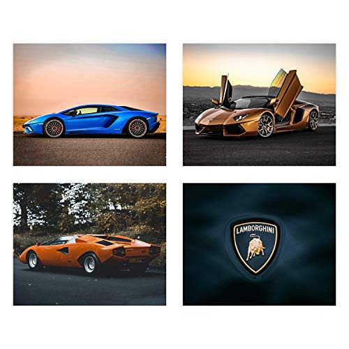 - Insire Lamborghini Poster Wall Art   Set of Four 8x10 Sports Car Prints  Aventador   S Supercar   Canaan Gifts