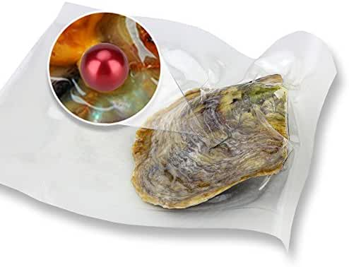 Ny Vacuum Package Akoya Round Cultured Pearl in Oyster 6-7mm 10pcs (Dyed Red)