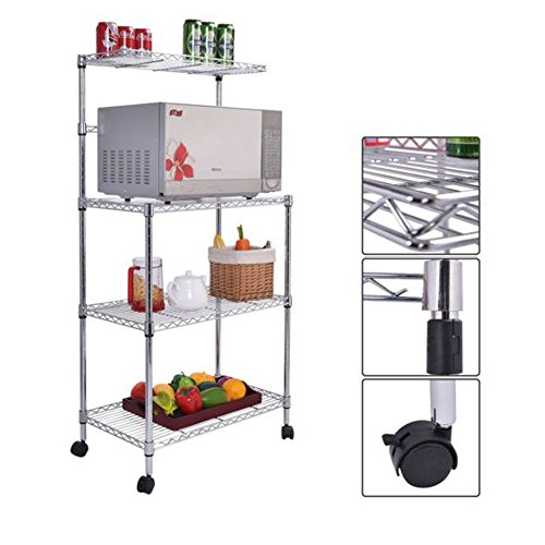 Messy Single Rod (4 Layer Adjustable Kitchen Bakers Rack Shelf Microwave Oven Stand Storage Cart)
