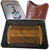 Dual Action Beard Comb Sandalwood Comb for beard & Real leather pouch, Pocket size, Fine - Coarse Teeth Antistatic wood comb Perfect for Beard Oils & Balms Gifts for men
