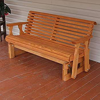 Amish Heavy Duty 800 Lb Roll Back Pressure Treated Porch Glider (4 Foot,  Cedar