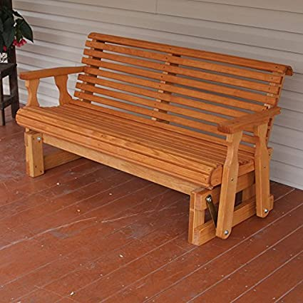 Amish Heavy Duty 800 Lb Roll Back Pressure Treated Porch Glider 5 Foot Cedar