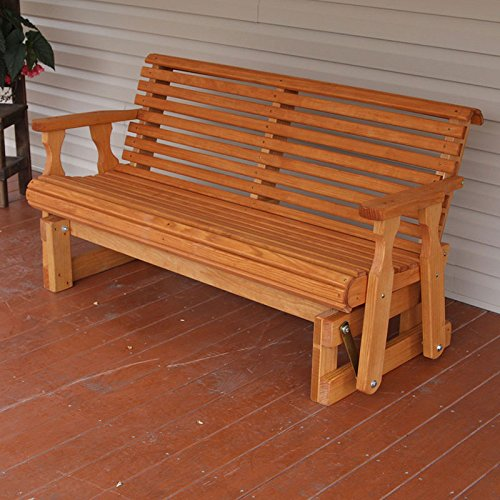 [Amish Heavy Duty 800 Lb Roll Back Pressure Treated Porch Glider (5 Foot, Cedar Stain)] (Back Porch Glider Bench)