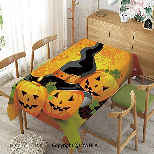 Homenon Wipe Clean Tablecloth for Rectangle Tables,Halloween,Spillproof Modern Printed,Light Orange Green Black,55
