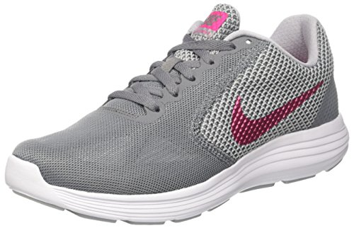 NIKE Ladies Revolution 3 Running Shoes - Cool Grey/Deadly Pink-Wolf Grey-White, 8.5 M US