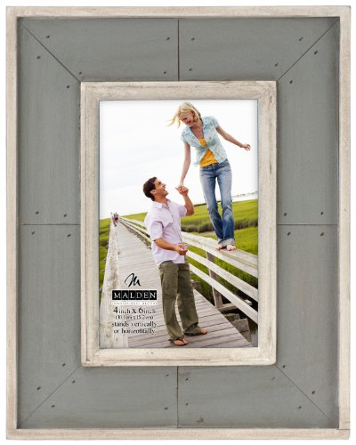 Picture Console Frame - Malden International Designs Sun Washed Woods Gray Distressed With Inner Frame Border Picture Frame, 4x6, Gray