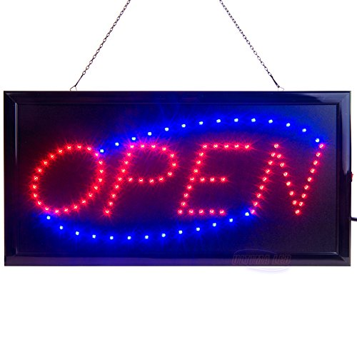 LED Open Sign for Business Displays: Light Up Sign Open with 2 Flashing Modes | Electronic Lighted Signs for Shops, Hotels, Liquor Stores | No use of Toxic Neon (19' x 10', Model 2)