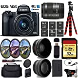 Canon EOS M50 Mirrorless Digital Camera with 15-45mm Lens + UV FLD CPL Filter Kit + Wide Angle & Telephoto Lens + Camera Case + Tripod + Card Reader – International Version