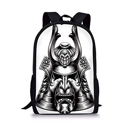 School Bags Japanese,Vintage Style Oriental Demon Samurai Mask Helmet Eastern Style Martial Art Print,Black White for Boys&Girls Mens Sport Daypack -