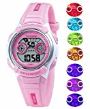 Waterproof Swimming Sports 7-Color Flashing Light Watches for Boys, Girls, Childrens Kids Age 4-12 (Pink)