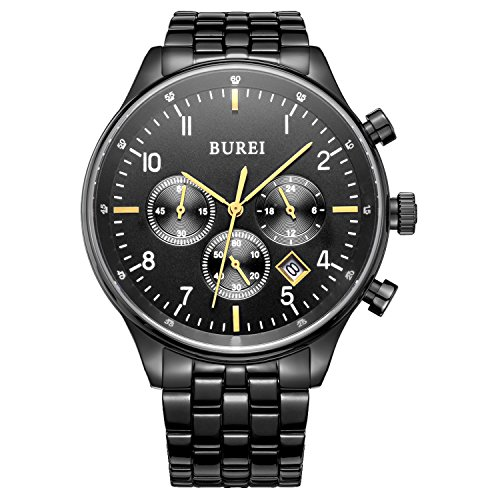BUREI Men's Black Chronograph Dress Watches with Date Analog Sapphire Lens Stainless Steel (Sapphire Mens Chronograph)
