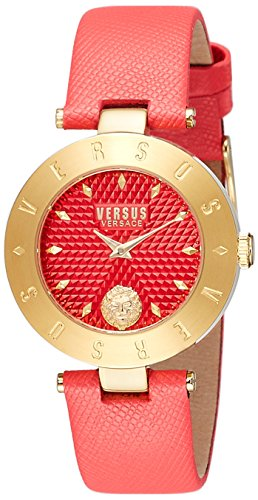 Versus by Versace Women's 'New Logo' Quartz Stainless Steel and Leather Casual Watch, Color Red (Model: S77040017)