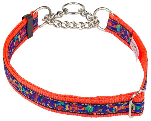 Multi-Colored Bones Woven Ribbon on Neon Orange Half Check Dog Collar Limited Edition-XL