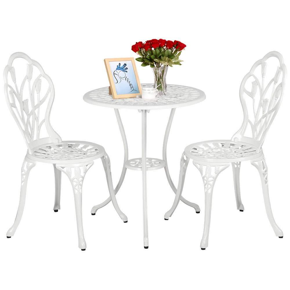 3 Pezzi Yaheetech Tavolo e Sedie da Giardino Balcone 1 Tavolo e 2 sedie Bianco in Lega di Alluminio