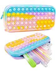Pop Push Its Pencil Case Bubble Pen Holder Silicone Sensory Games Large Capacity Stationery Box Anti-Shock for School Students Teens Rainbow